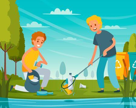 Flache Zusammensetzung der Naturbereinigung mit Freiwilligen, die Abfallflaschen Plastikverpackungsmüll in der Nähe von Teichvektorillustration aufheben