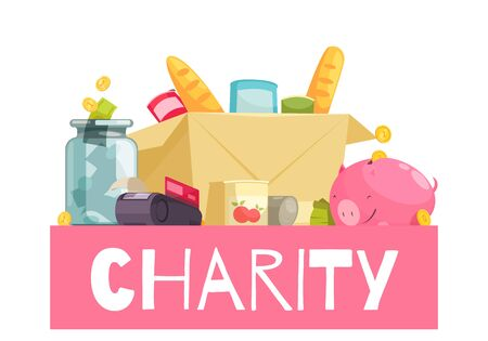 Charity composition with images of donated items food products still bank and money boxes with text vector illustration