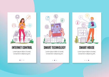 Smart house technology 3 flat vertical banners set with internet of things smartphone tablet controlling vector illustration