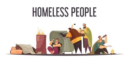 Homeless people gathering food bottles from big garbage can and sleeping outdoor flat cartoon composition vector illustration