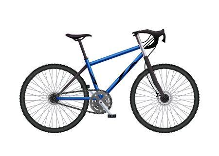 Realistische Fahrradteilezusammensetzung mit isoliertem Bild des aufgebauten MTB-Hardtail-Fahrrads auf leerer Hintergrundvektorillustration Vektorgrafik