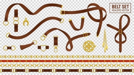 Belt realistic transparent set with buckle and chain isolated vector illustration