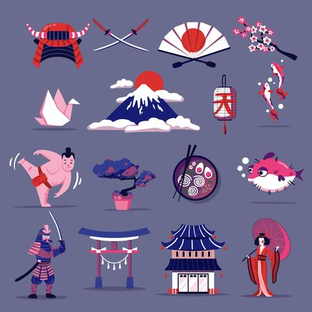 Japan travel cartoon set of elements of national cuisine culture tradition and landmarks  flat vector illustration