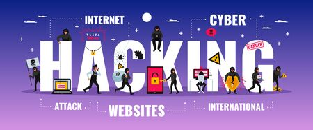 Hacker typography banner with cyber attack symbols flat  vector illustration Çizim