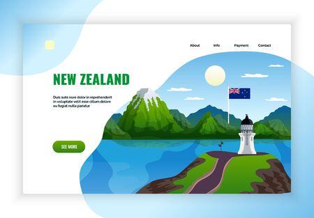 Diseño de página de destino del sitio web de banner de concepto de nueva zelanda con imágenes de paisaje salvaje y la ilustración de vector de faro