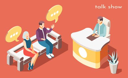 Talk show background with problem discussion symbols iaometric vector illustration Ilustração
