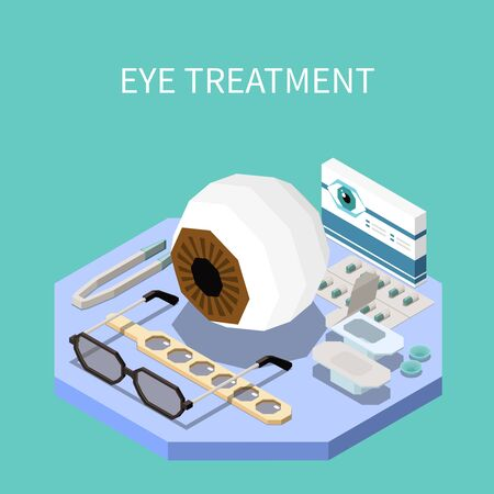 Ophthalmology isometric composition with eye treatment equipment 3d vector illustration