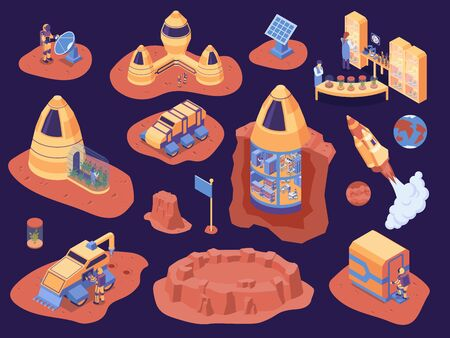 Isometric mars colonization color icon set scientists with discovery mission rockets and astronaut vector illustration