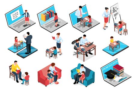 Isometric family homeschooling education learn online study set of isolated images with books computers and people vector illustration Illustration