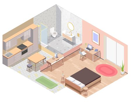 Interior furniture isometric colored composition the layout of the apartment with kitchen bathroom living room equipped with furniture vector illustration