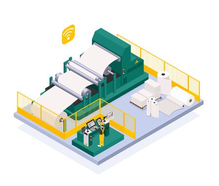 Paper production industry with newspaper and press symbols isometric  vector illustration 일러스트