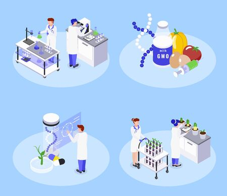 Bio engineering concept 4 isometric icons with genetically modified food gmo biotechnology laboratory dna manipulation vector illustration