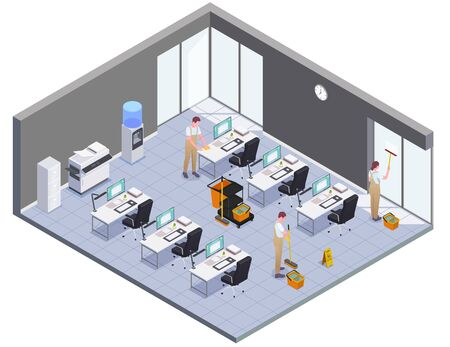 Isometric colored cleaning concept isolated office room and workers wash windows floors and furniture vector illustration