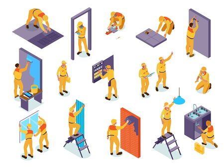 Home repair isometric set with craftspeople pasting wallpaper install doors laying tiles  painting walls isolated vector illustration