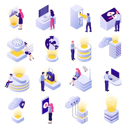 Datacenter isometric icons collection with cloud data storage processing analysis worldwide access security white background vector illustration  Illusztráció