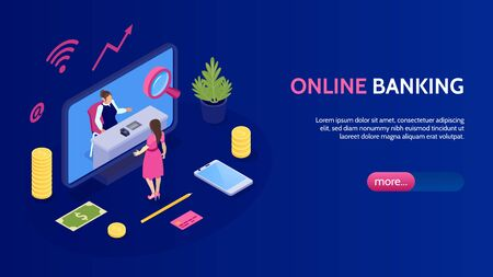 Online banking horizontal banner with icons illustrated mobile payments and transfer money from card isometric vector illustration Standard-Bild - 128161195