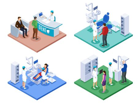 Dentist office concept 4 isometric compositions with reception desk checkup procedure advice prescription 3d scan vector illustration