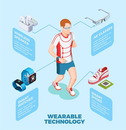 Wearable technology isometric composition with jogging man wearing smart shoes watch ar glasses wireless speaker vector illustration