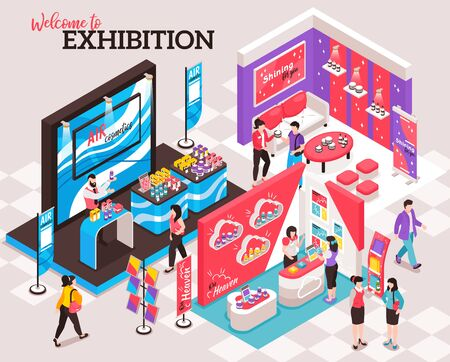 Isometric expo stand composition with ornate text and view of exhibition venue with colourful decorated spots vector illustration