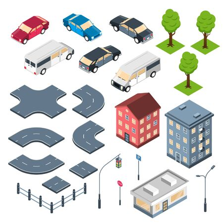 City constructor isometric set with road elements crossroad town buildings and cars isolated vector illustration