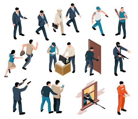 Collection of isolated isometric human characters of criminals and their victims with weapons on blank background vector illustration