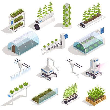 Modern green house isometric elements with automated hydroponics and aeroponic smart garden beds robotic assistant vector illustration