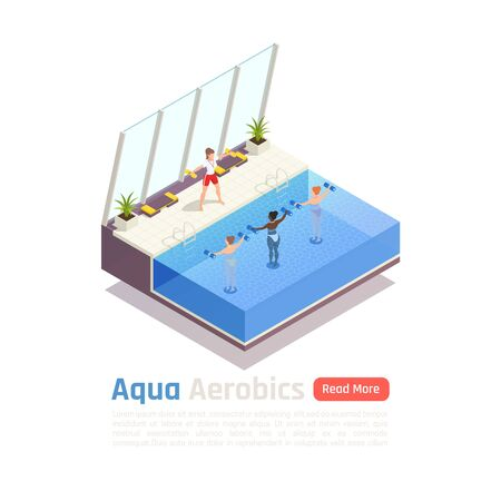 Water aerobic calories burning training isometric composition with aqua dumbbells exercise in modern swimming pool vector illustration