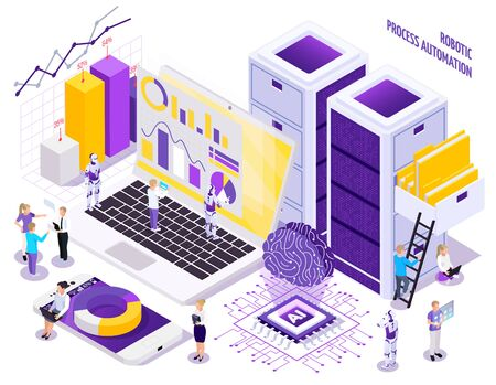 Robotic process automation isometric composition with little human characters and images of office workspace essential elements vector illustration