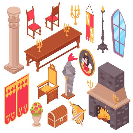 Isometric medieval castle royal hall interior set of isolated inside fitting images and pieces of furniture vector illustration