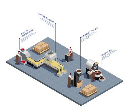 Coffee industry concept isometric composition of beans processing sorting roasting machinery on production facility floor vector illustration