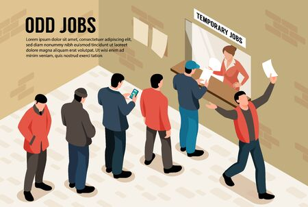 Odd jobs isometric background with group of male characters standing in queue for temporary work vector illustration