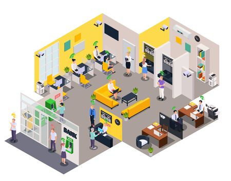 Social credit score system isometric composition with view of office people characters and rating level pictograms vector illustration