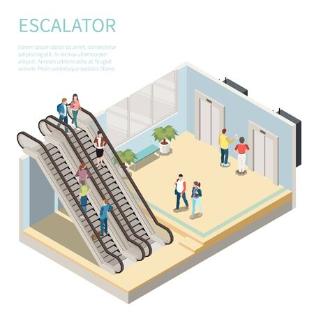 Composición isométrica con personas que usan escaleras mecánicas y esperan el ascensor ilustración vectorial 3d