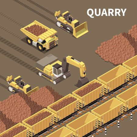 Mining machinery background with trucks and excavators loading rocks 3d vector illustration