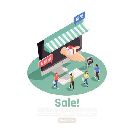 Customer loyalty retention isometric background with small people and desktop computer with human hand and text vector illustration