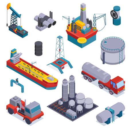 Colored and isometric oil petroleum industry icon set with trucks warehouse and equipment vector illustration