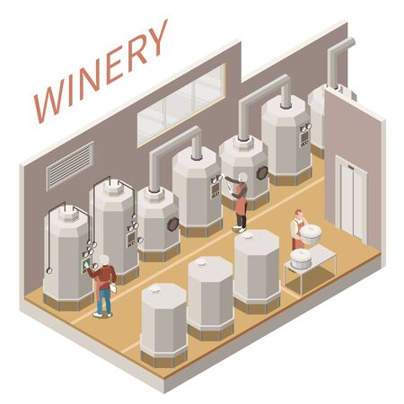Isometric composition with wine production process on white background 3d vector illustration