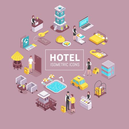 Hotel building facilities isometric elements circular composition with cleaning service swimming pool porter taxi reception vector illustration
