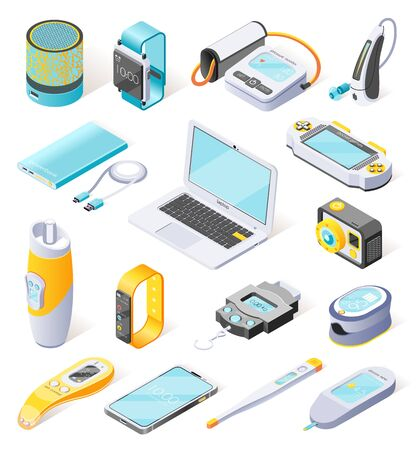 Portable electronics isometric icons  illustrated digital gadgets used in daily life in field of sports medicine work and leisure isolated vector illustration