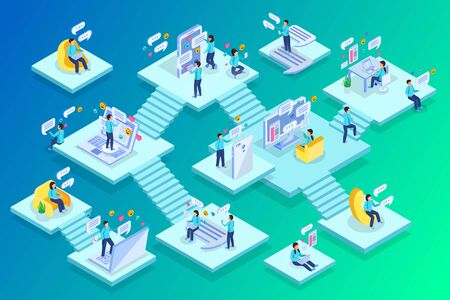 Chatting people home private business commerce work multi level isometric compositions with staircases green background vector illustration