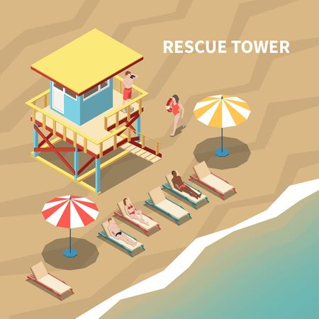 Lifeguard on rescue tower and people on beach 3d isometric vector illustration Illustration