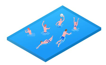 Aqua sports games recreation activities isometric composition with water polo mixed team payer throwing ball vector illustration