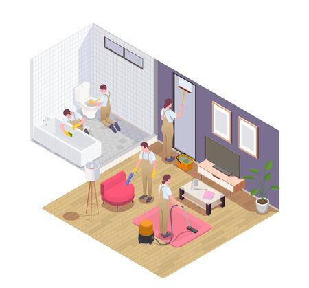 Professional cleaning service team at work vacuuming carpet furniture squeegeeing window washing disinfecting bathroom isometric vector illustration