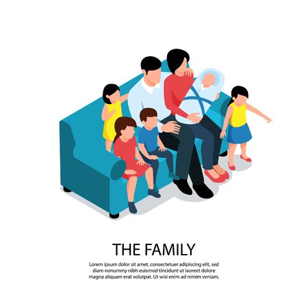 Isometric baby kids children composition with editable text and characters of large family members on sofa vector illustration