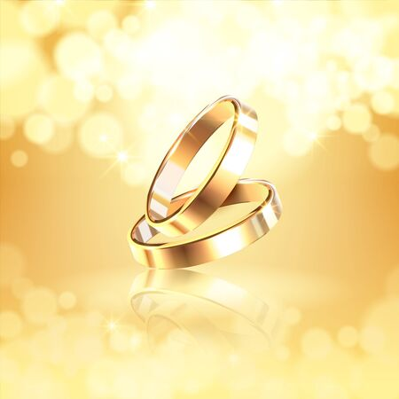 luxurious golden composition with two glossy wedding rings on shining background realistic vector Illustration
