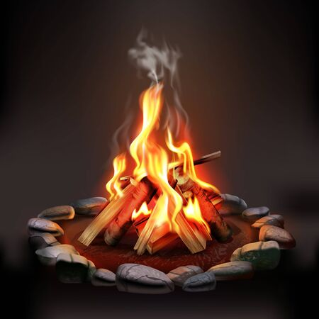 Burning wood campfire with orange flame surrounded by stones on dark background realistic vector illustration  Çizim