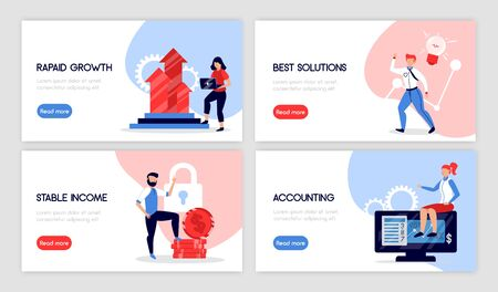 Set of four isolated accounting horizontal banners with doodle style images text and read more button vector illustration Illustration