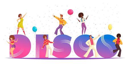 Disco party concept with retro celebration symbols flat vector illustration