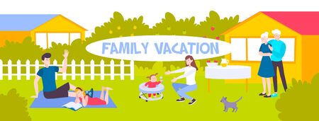 Family spending vacation outdoors in country flat horizontal banner vector illustration
