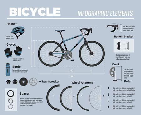Bicycle parts infographics with realistic images of mtb bike with accessories and editable text tips captions vector illustration